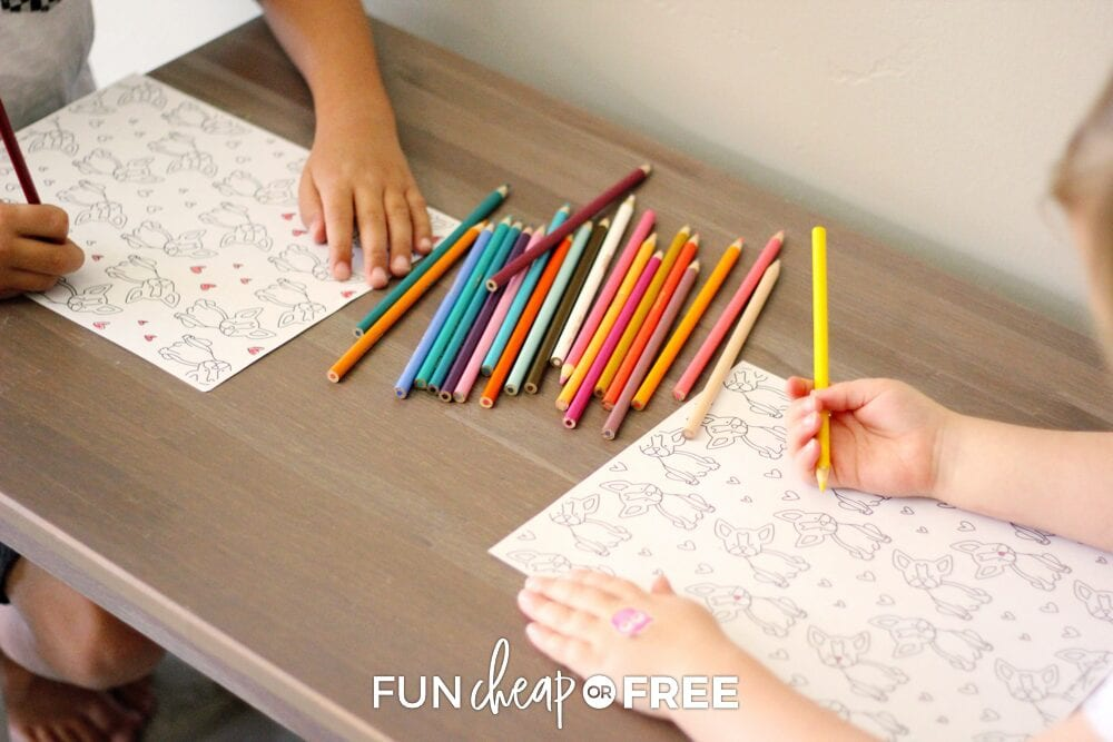 Kids coloring on pages, from Fun Cheap or Free