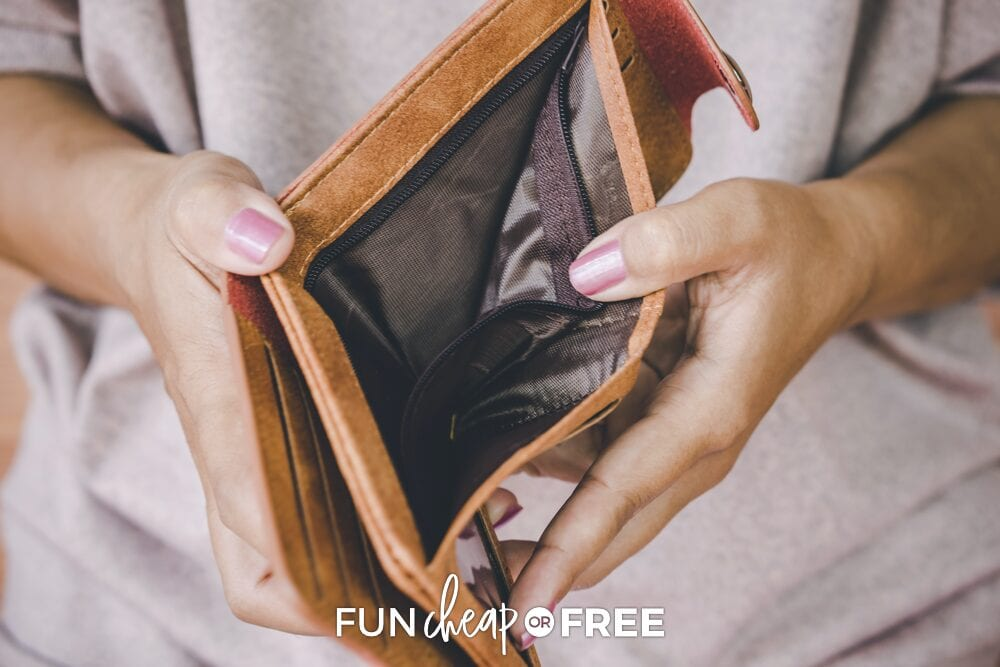 Hands holding a wallet open, from Fun Cheap or Free