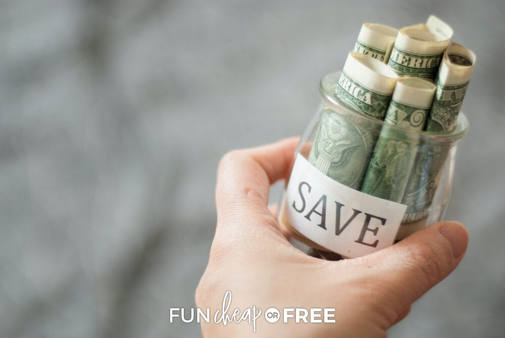 hand holding a jar with money, from Fun Cheap or Free