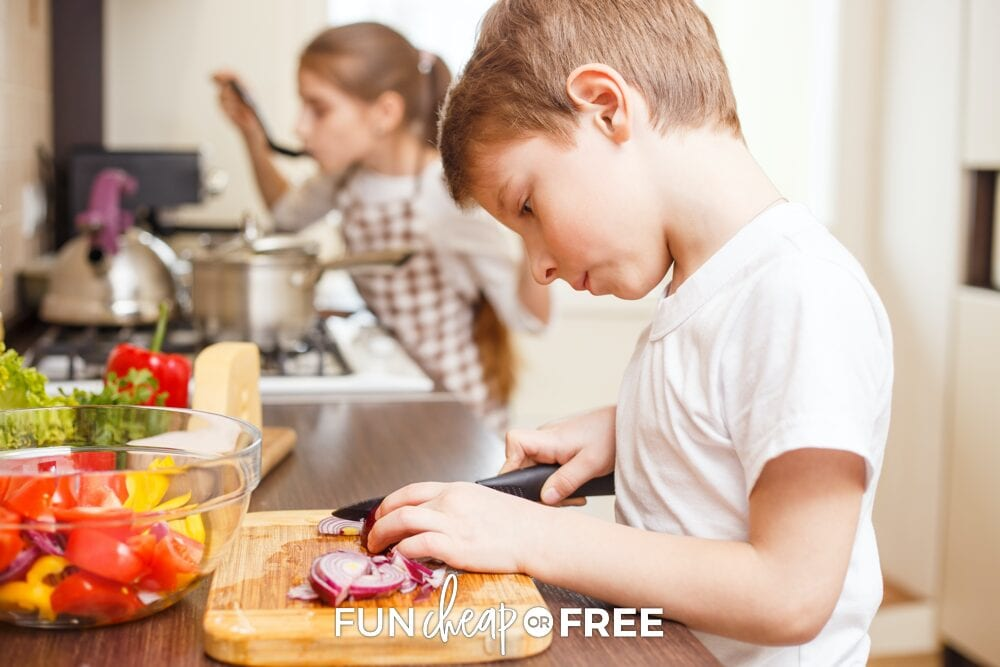 Kids cooking in the kitchen, from Fun Cheap or Free