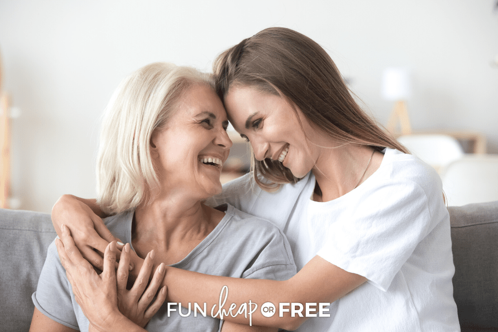 Mom and daughter hugging, from Fun Cheap or Free