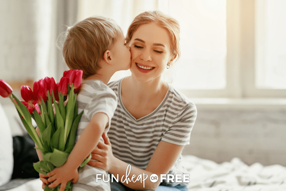 Little boy giving mom flowers, from Fun Cheap or Free