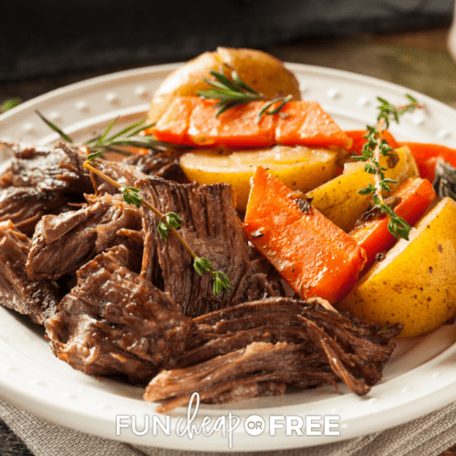 Pot roast recipe on a plate from Fun Cheap or Free!