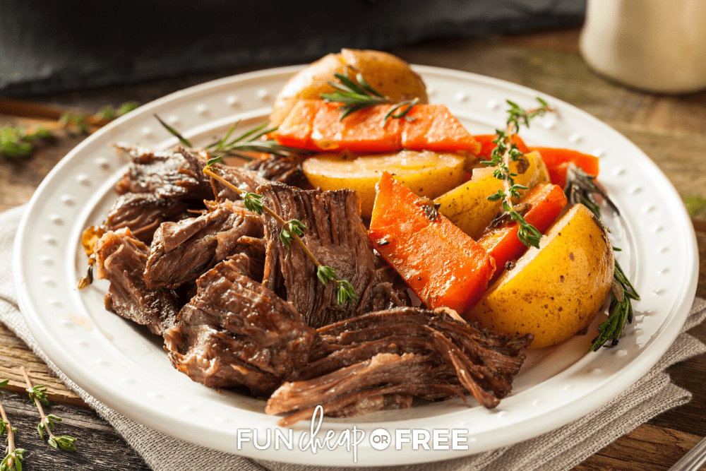 This EASY pot roast recipe will be your favorite lazy day dinner. Get the recipe and tips from Fun Cheap or Free!