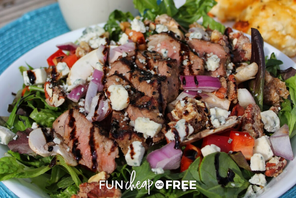 This copycat steak salad recipe is the BEST and so easy to make. Get the recipe from Fun Cheap or Free!