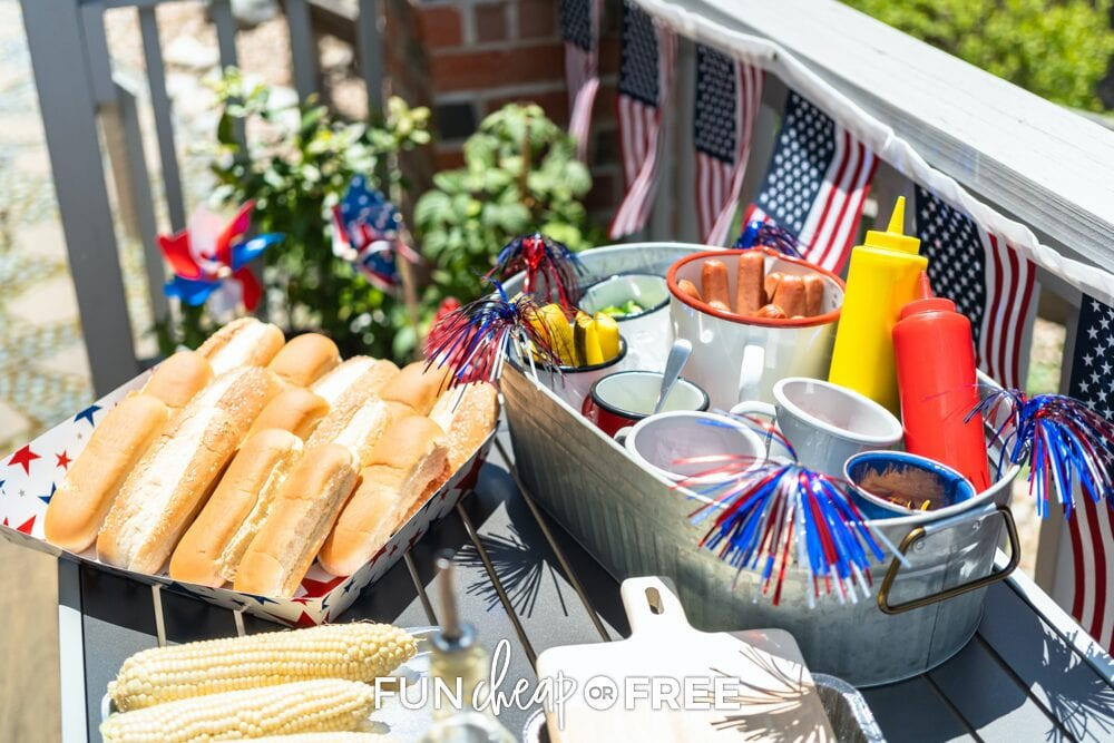 hot dog bar at 4th of July party, from Fun Cheap or Free