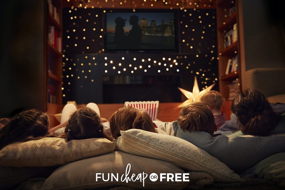 Family having a movie night, from Fun Cheap or Free