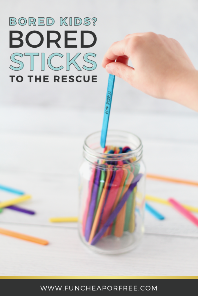 The next time you have bored kids, reach for the bored sticks to help them figure out what to do! Tips from Fun Cheap or Free