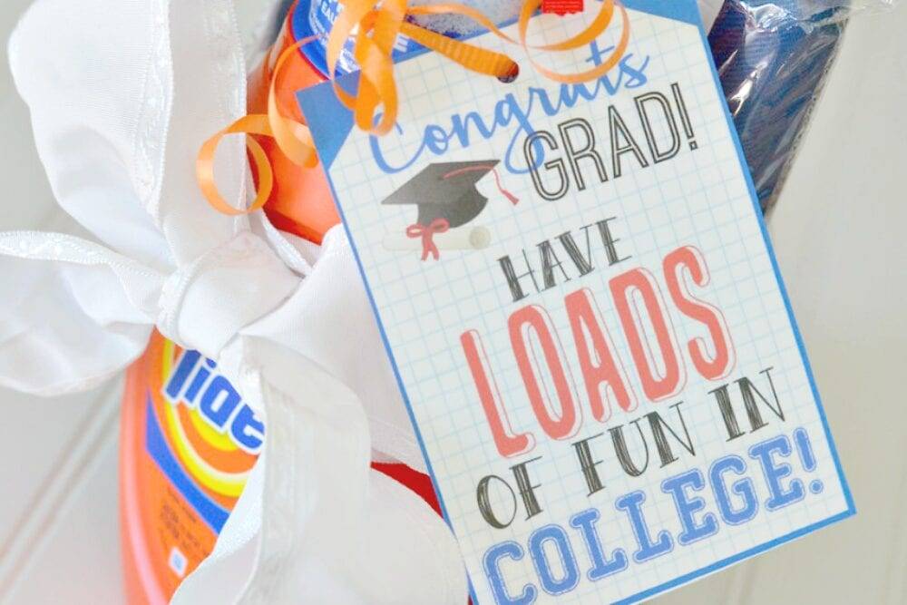 Hip2Save has the cutest printable to go along with some cheap laundry detergent! Graduation gifts from Fun Cheap or Free