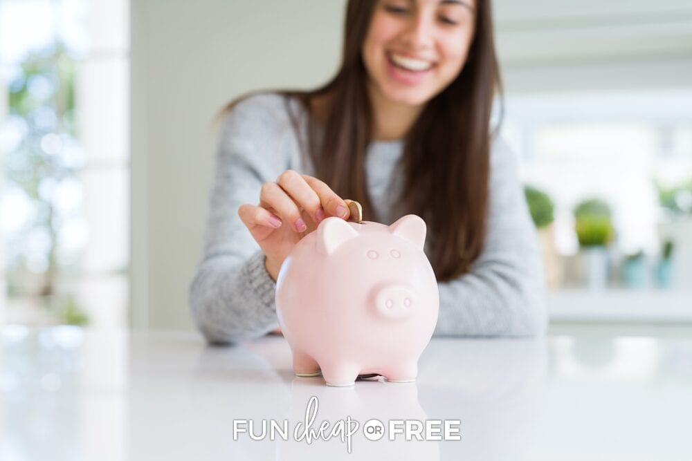 girl putting coin in piggy bank, from Fun Cheap or Free