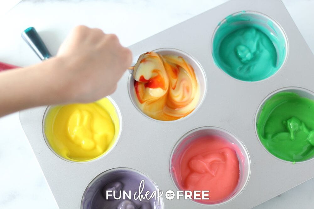 Whip up your batch in a muffin tin and let the kids go to town! Ideas from Fun Cheap or Free