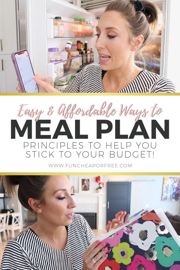 "Image with text that reads ""easy and affordable ways to meal plan"" from Fun Cheap or Free"