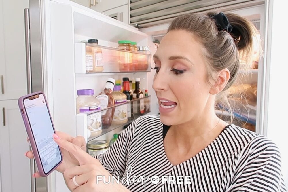 Jordan meal planning with her phone, from Fun Cheap or Free