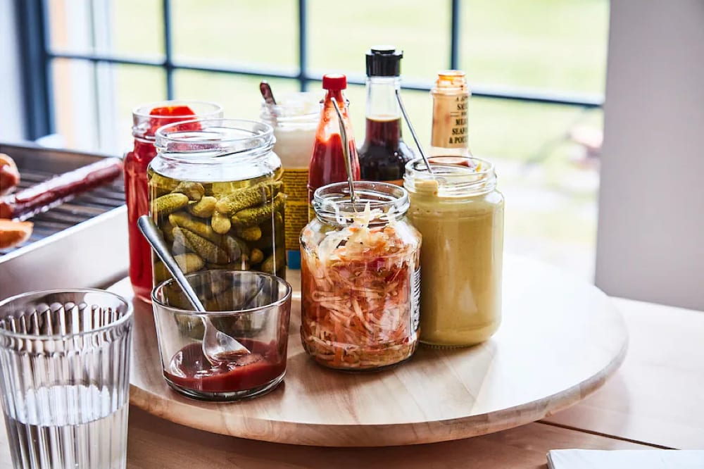 Ikea lazy susan with condiments, from Fun Cheap or Free