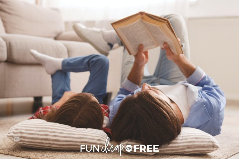 Model reading for your kids to help them want to stay engaged and keep learning how to read. Tips from Fun Cheap or Free