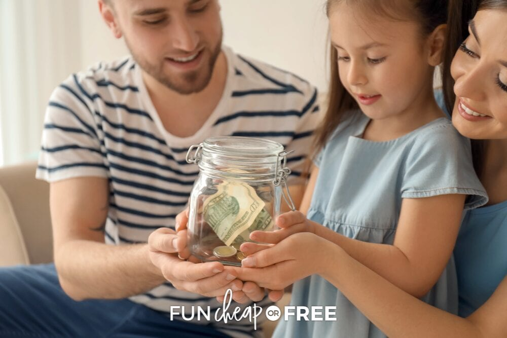 little girl holding jar of money, from Fun Cheap or Free