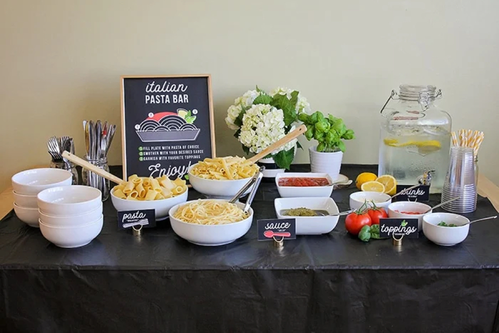Somewhat Simple pasta bar, from Fun Cheap or Free