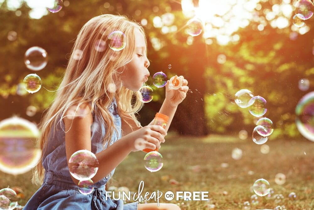 Little girl blowing bubbles, from Fun Cheap or Free