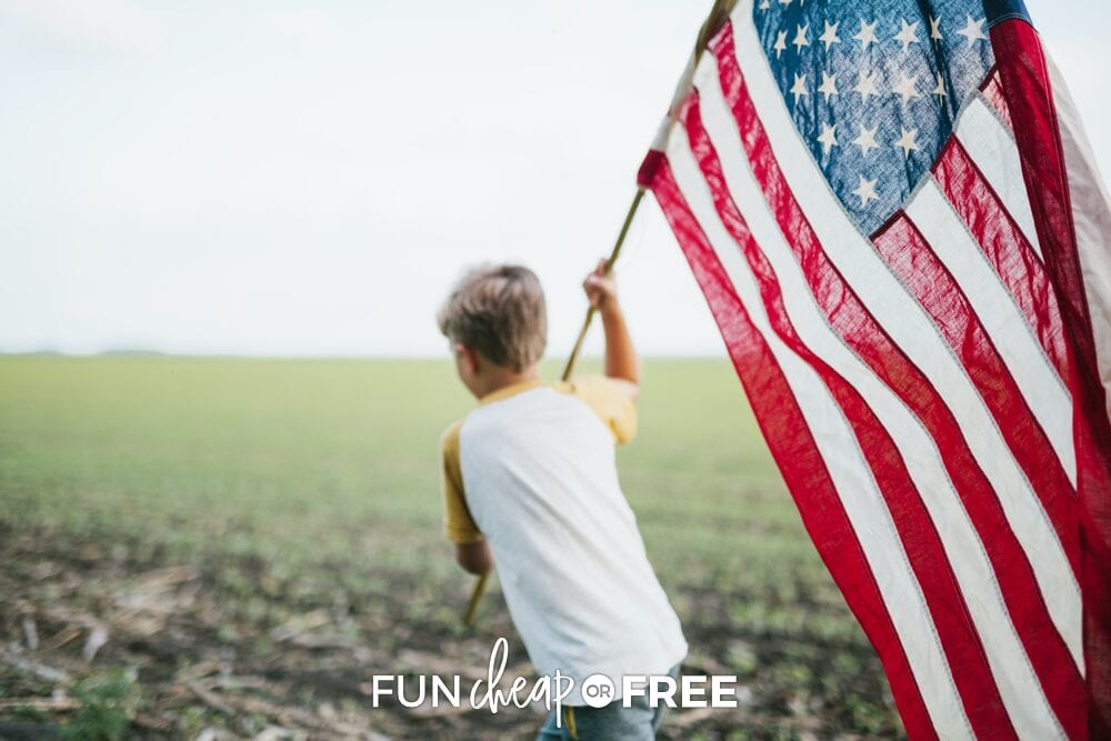 Boy running with American flag, from Fun Cheap or Free