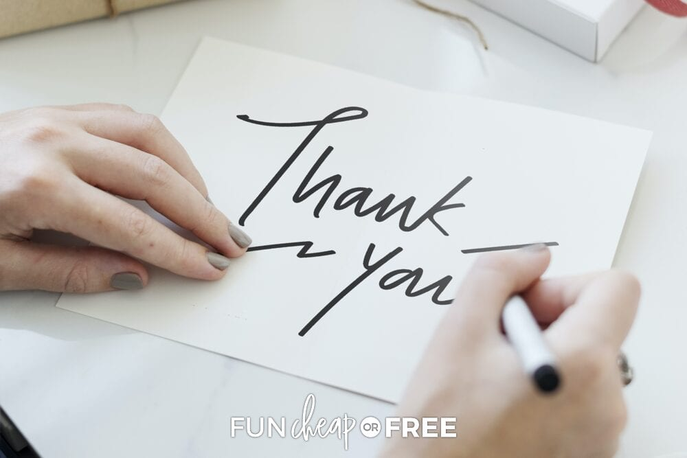 writing thank you notes, from Fun Cheap or Free