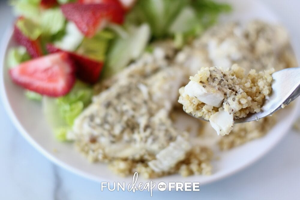 Baked tilapia on a plate from Fun Cheap or Free