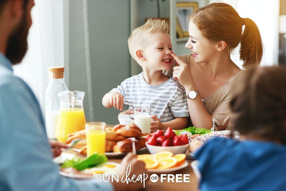 Family eating dinner together from Fun Cheap or Free