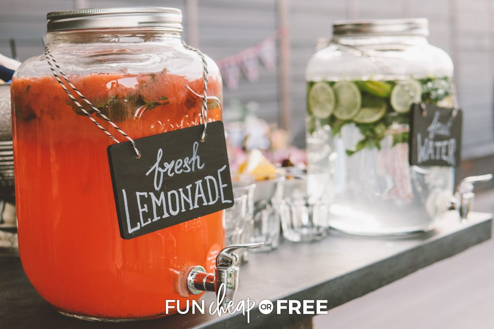 Lemonade and water in drink dispensers, from Fun Cheap or Free
