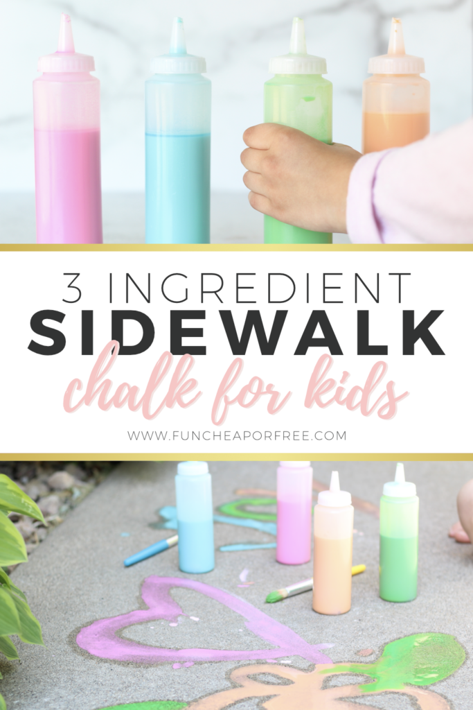 Super easy 3 ingredient sidewalk paint for kids fro Fun Cheap or Free