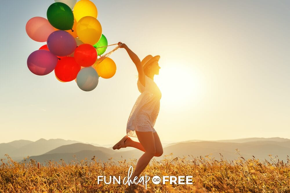 A woman is running with balloons, from Fun Cheap or Free