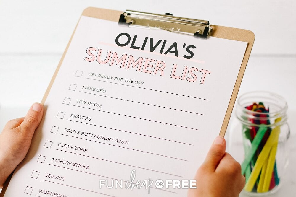 clipboard with summer checklist, from Fun Cheap or Free