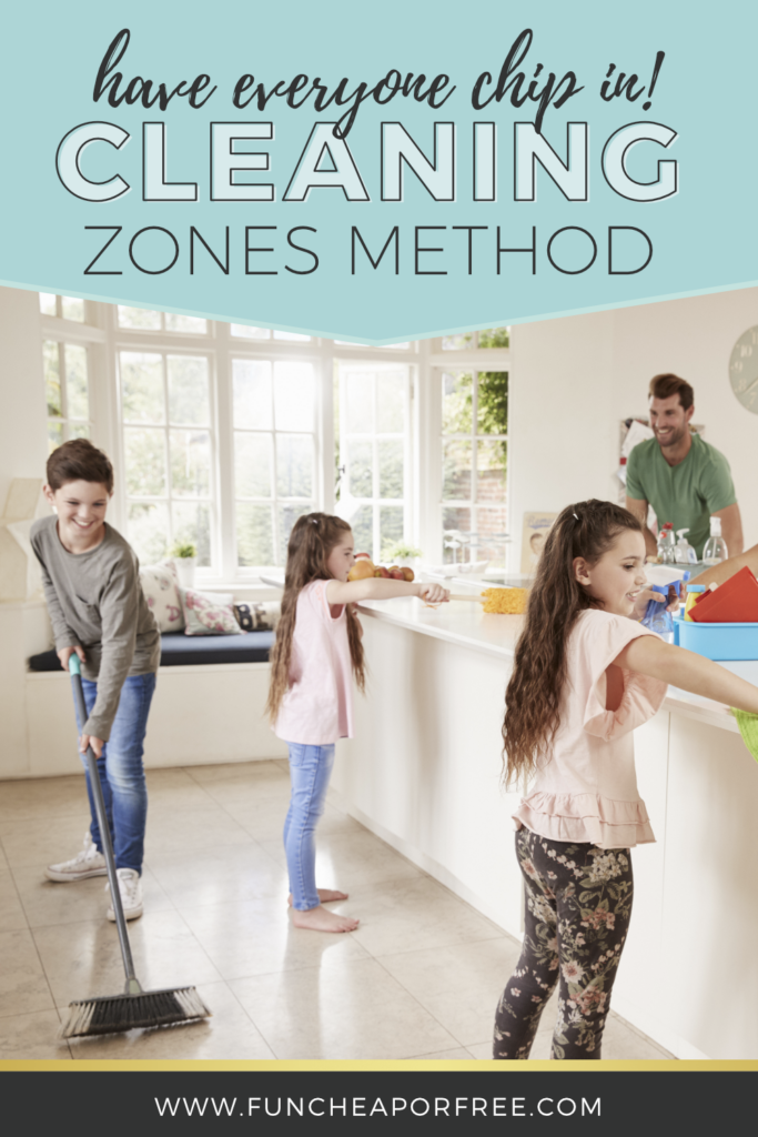 Have everyone chip in using the cleaning zones method from Fun Cheap or Free