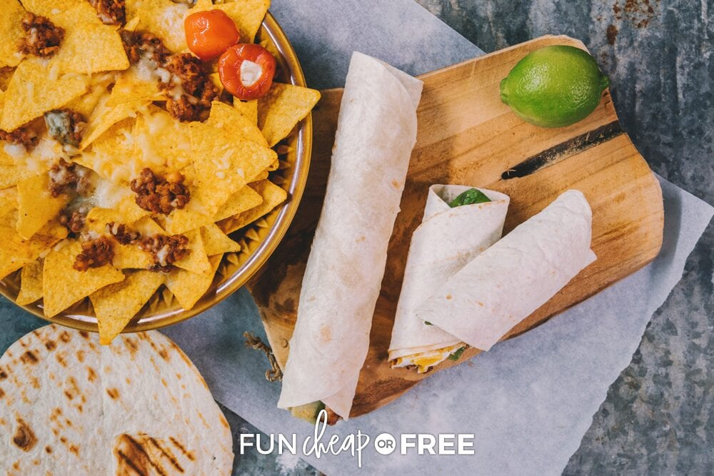 Burritos on a counter, from Fun Cheap or Free