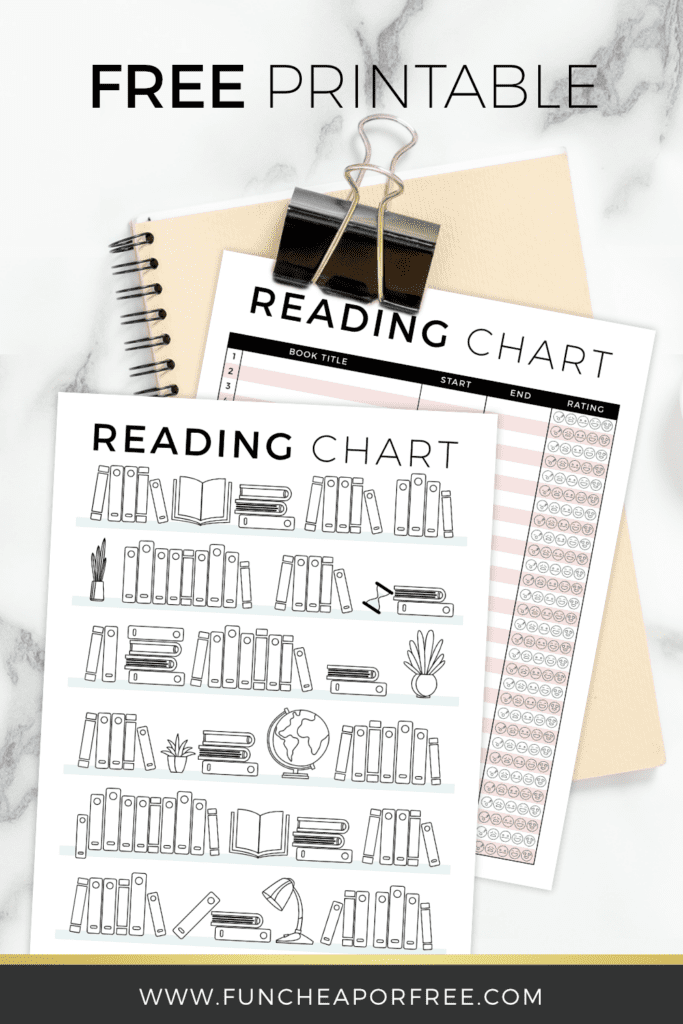 Free printable reading chart from Fun Cheap or Free to help your child keep up with their reading!