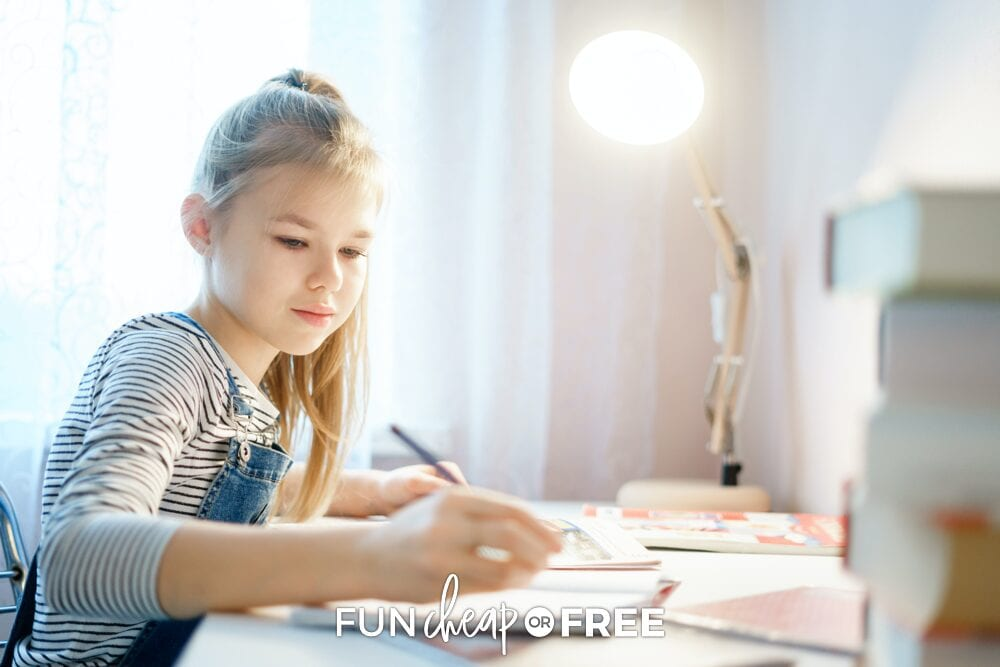 Girl writing in her planner, from Fun Cheap or Free