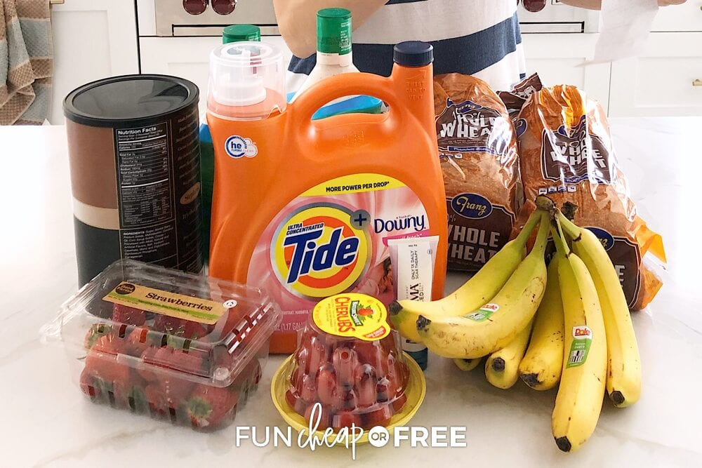 Grocery items on a counter, from Fun Cheap or Free