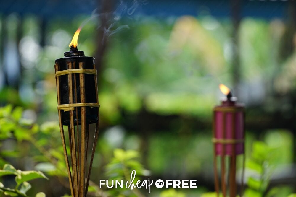 Citronella torches are a great way to keep those pesky bugs away - Natural bug repellent ideas from Fun Cheap or Free