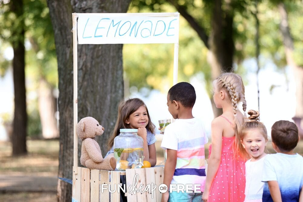 Host a lemonade stand and donate the proceeds to charity - Neighborhood service project ideas from Fun Cheap or Free