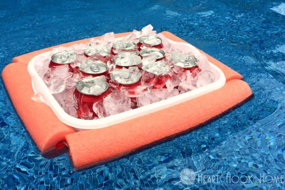 Make a floating drink cooler like this one from Heart Hook Home - Pool hacks from Fun Cheap or Free