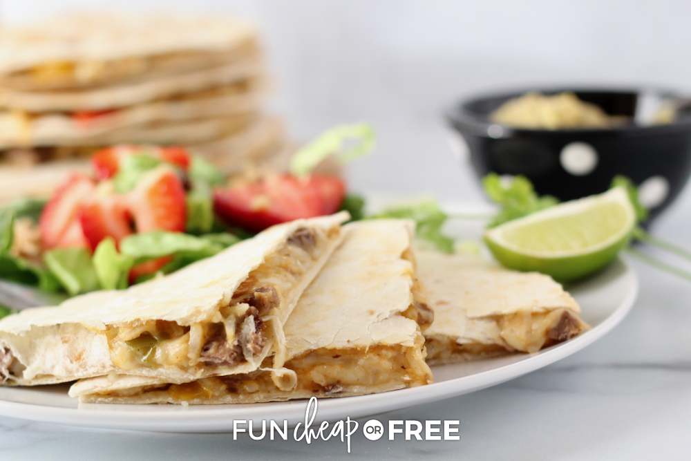 Quesadillas on a plate, from Fun Cheap or Free