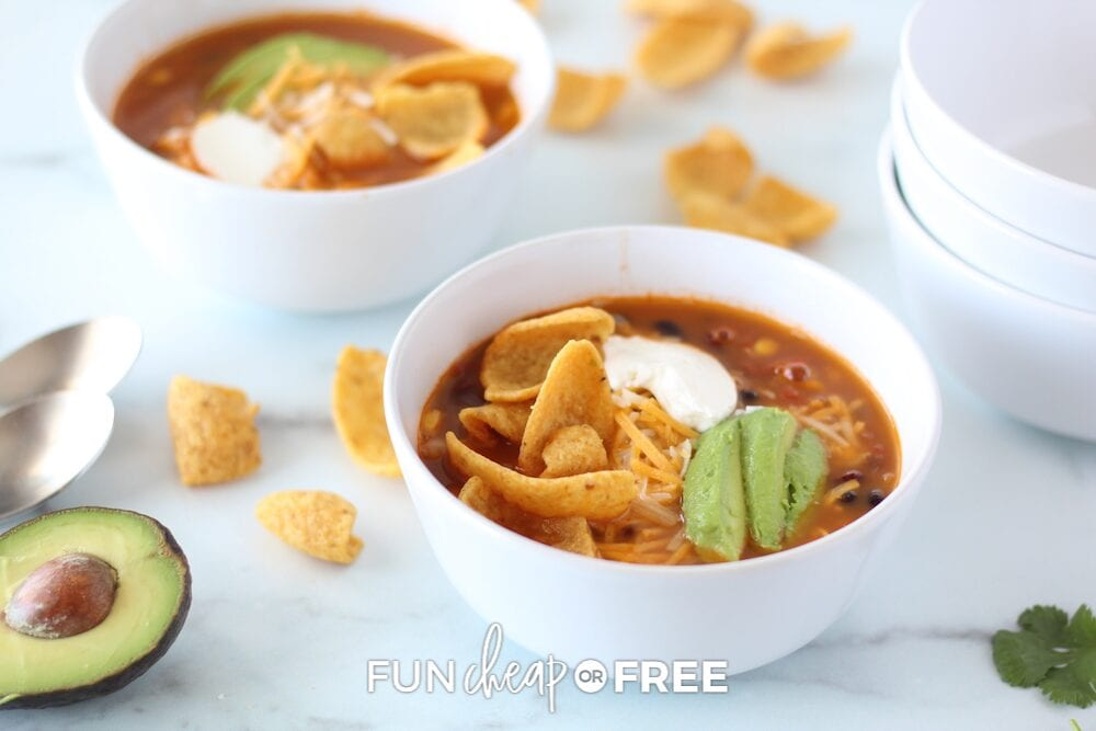 Taco soup in a bowl, from Fun Cheap or Free