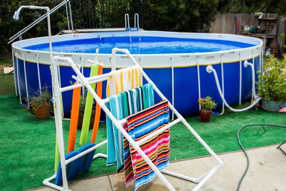Easily build a PVC towel rack that you can reuse every year like this one from Hallmark Channel! Pool hacks from Fun Cheap or Free