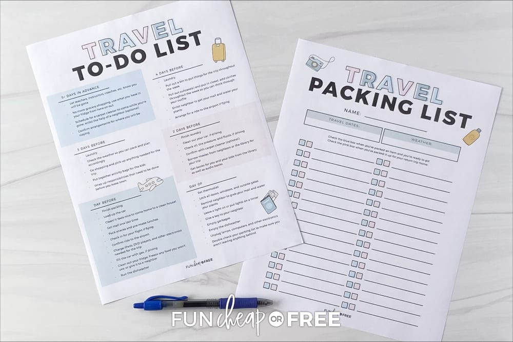 Printable packing list and travel to do list, from Fun Cheap or Free
