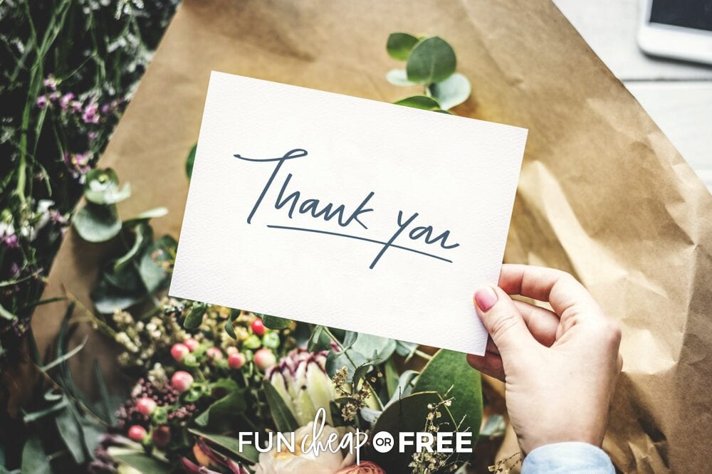 Woman holding thank you note, from Fun Cheap or Free