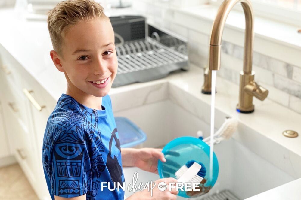 Jordan Page's son doing the dishes, from Fun Cheap or Free