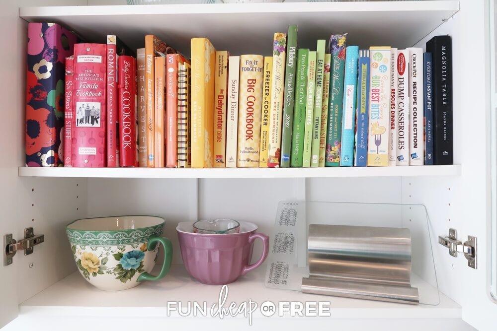 Cookbooks organized on a shelf, from Fun Cheap or Free
