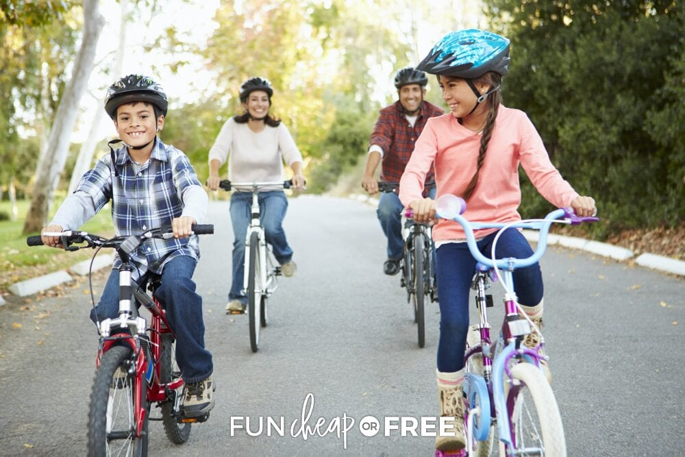 A family bike ride is always a fun way to get the blood pumping! Fun activities for kids at home from Fun Cheap or Free