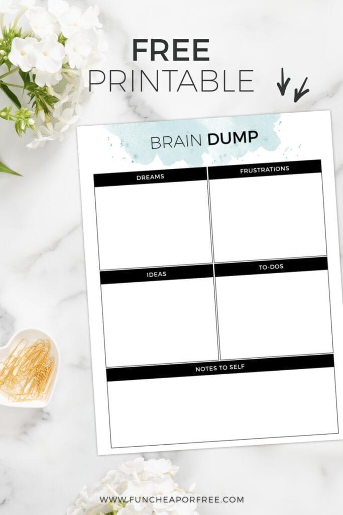 brain dump template, from Fun Cheap or Free