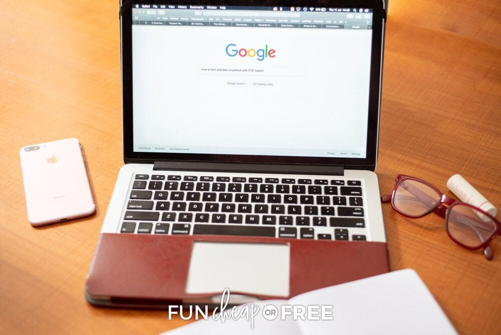 "Google search with ""how to find fun things to do near me"" from Fun Cheap or Free"