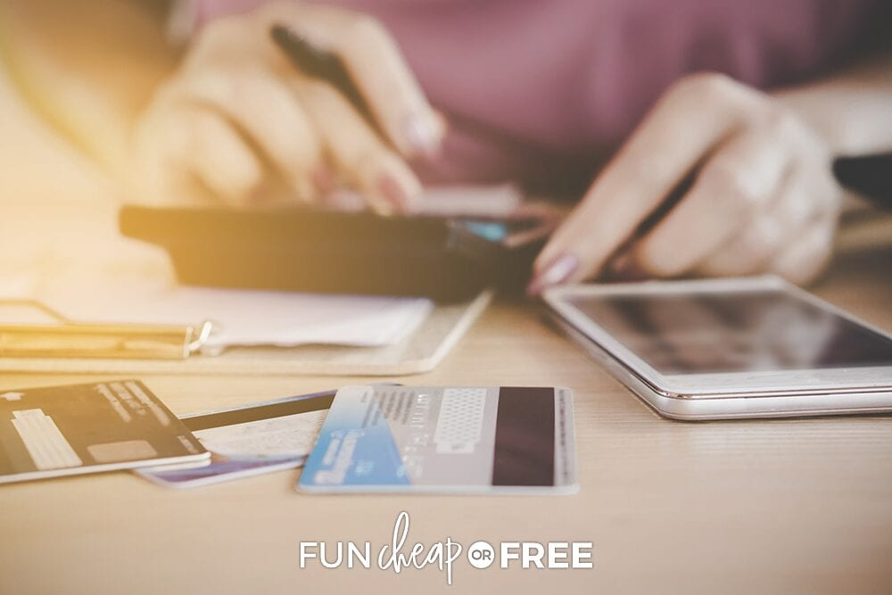Using a calculcator to total credit card debt, from Fun Cheap or Free