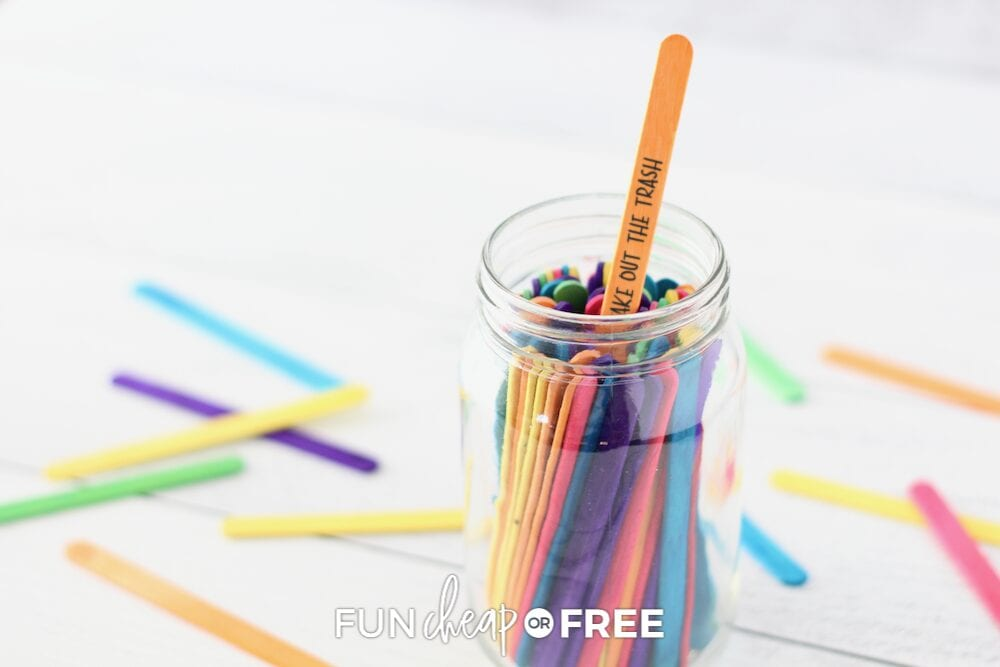 colorful chore sticks in a jard, from Fun Cheap or Free